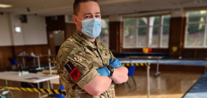 RAF reserve in PPE ready for Covid-testing