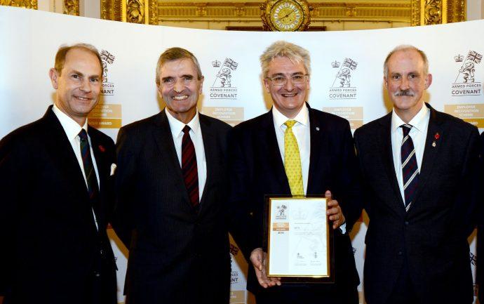 Prince Edward with three Tetra Tech executives