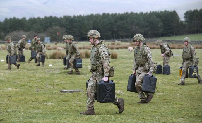 Carry two 22-kilo jerry cans over 240 metres in four minutes