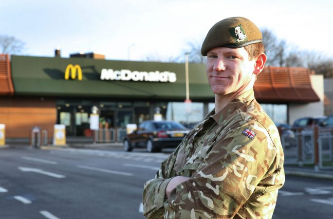 4 Yorks reserve Ryan Shippey outside his Barnsley workplace, McDonalds.