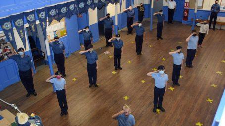 Hull sea cadets saluting