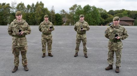 Reservists with their Afghan medals
