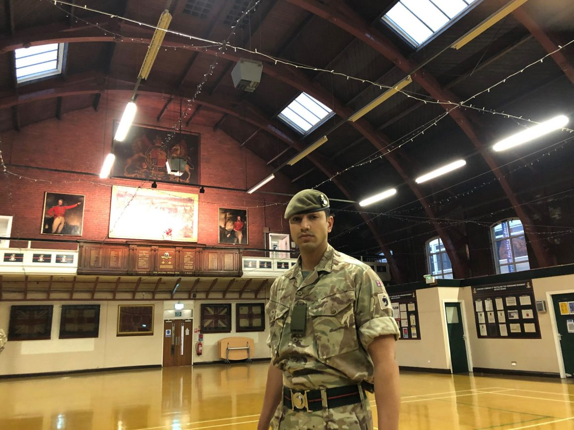 Single reservist in vast old drill hall