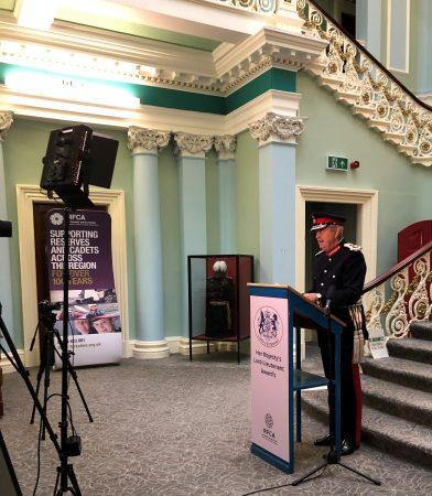 Lord-Lieutenant being filmed giving a speech