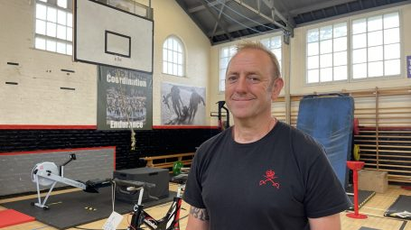 Army physical training instructor Glenn Bloomer in his gym in York