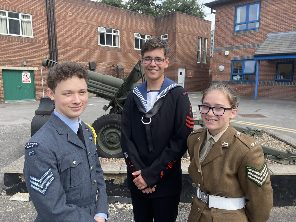 Three cadets - one from each service