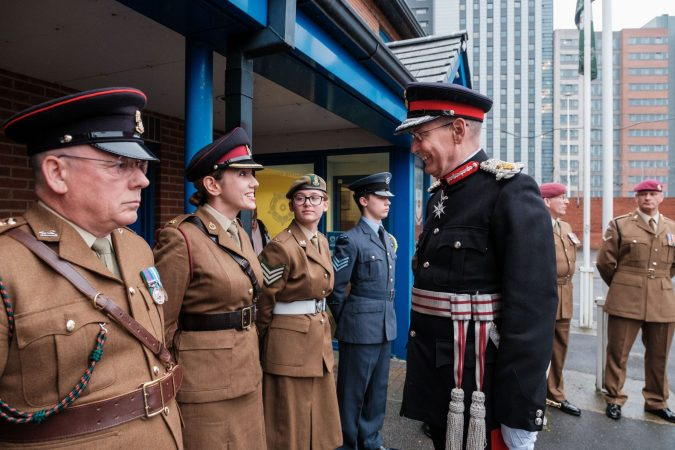 A line of reserves, meeting the Lord Lieutenant