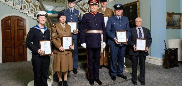 Group photo of recipients at the south yorkshire Lord-Lieutenant awards ceremony