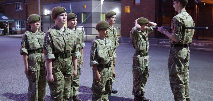Cadets parading outside a newly built Stokesley Cadet Centre, North Yorkshire